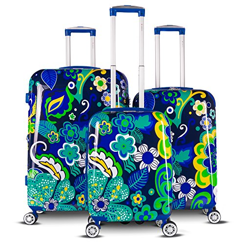 The Floral Collection 3 Piece Expandable Hardside Luggage Set (Navy Floral)