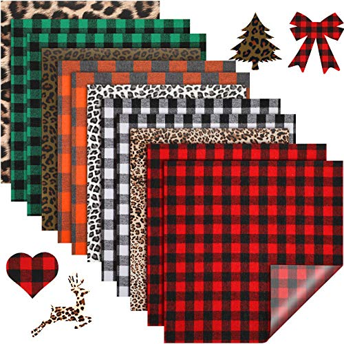 12 Sheets Christmas Buffalo Plaid HTV Iron on Vinyl Assorted Leopard Pattern Check Heat Transfer Vinyl for T-Shirts Fabric Craft
