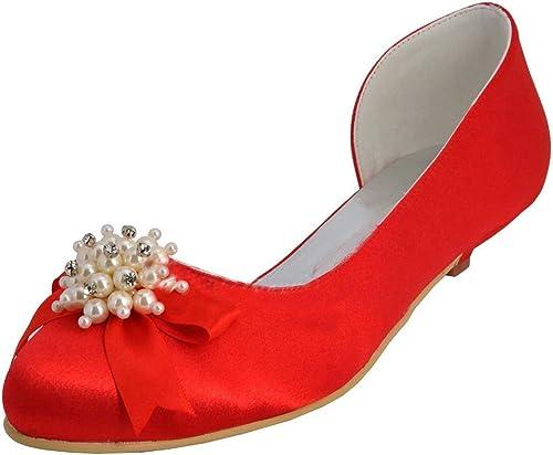 Qiusa femmes Chaton Talon Satin soirée de Noces soirée Bal Escarpins Chaussures (Couleuré   rouge-3cm Heel, Taille   4 UK)