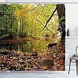 ABAKUHAUS Landschaft Duschvorhang, Pine River im Herbst, Trendiger Druck Stoff mit 12 Ringen Farbfest Bakterie & Wasser Abweichent, 175 x 240 cm, Grün-Gelben Cinamon