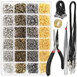 YGDZ 3780pcs Jump Rings, 120pcs Lobster Clasps, Jewelry Pliers, Black Waxed Necklace Cord, Open Jump Rings for...