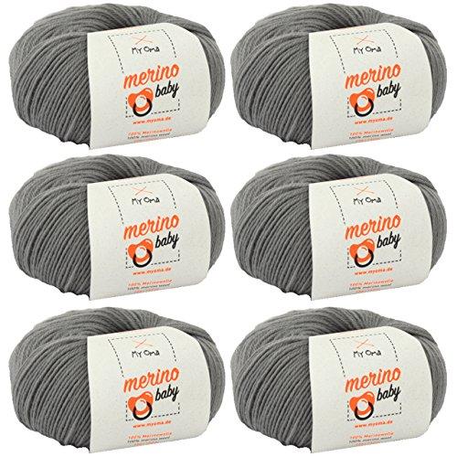 MyOma Babywolle zum Häkeln - Merino Baby grau (Fb 6050) - 6 Knäuel Merinowolle Baby grau + GRATIS Label – 25g/140m – Nadelstärke 2,5-3mm – Babygarn 100% Merino - Baby Babywolle zum Häkeln weich