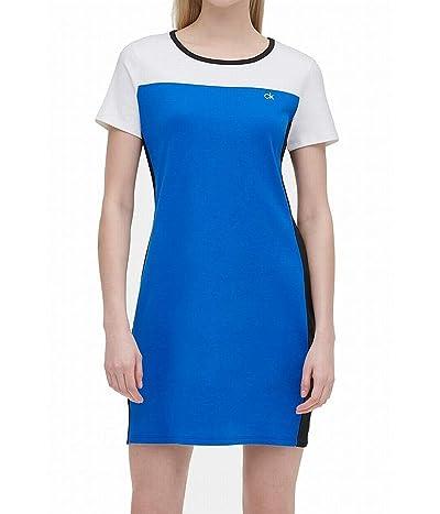 Calvin Klein Short Sleeve Colorblock Dress With Logo