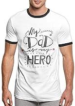 STRAW AND BERRY My Dad is My Hero Camisetas Personalizadas de Moda Suave y Transpirable Divertida para Hombres