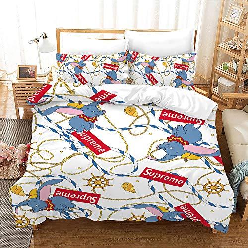 Probuk Disney Dumbo Ropa de cama infantil 100% microfibra, funda nórdica para niños y niñas, con funda de almohada (A-05,150 x 200 cm (50 x 75 cm)