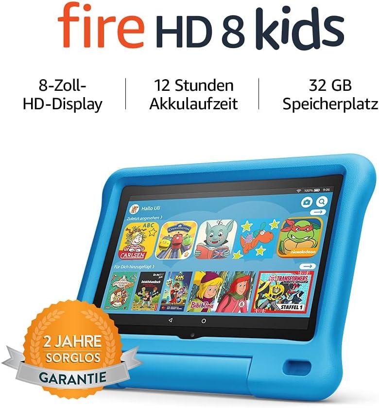 Fire HD 8 Kids-Tablet   Ab dem Vorschulalter   8-Zoll-HD-Display, 32 GB, blaue kindgerechte Hülle