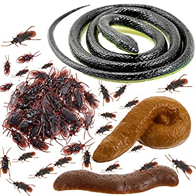 Fake Cockroach Realistic Rubber Snakes - 70Pieces Fake Cockroach Roach Novelty Toys for April Fools' Day Halloween Party Favors and Decorations Props Boys Girls Gifts