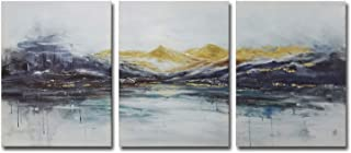 Rtriel Abstract Mountain Canvas Wall Art Modern Watercolor Prints Dark Blue and Gold..