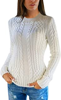 Pink Queen Women's Cable Knit Crewneck Casual Pullover Sweater