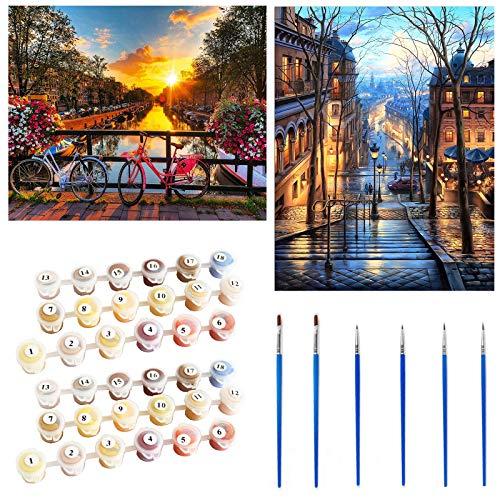 YAOYIN Pintar por Numeros Adultos Niños Principiantes, 2 Juegos DIY de Kits de Pintar por Números,para Decoración del Hogar, Viene con Pinturas y Pincel,Bicicleta y Vista a la Calle(40 * 50 cm)