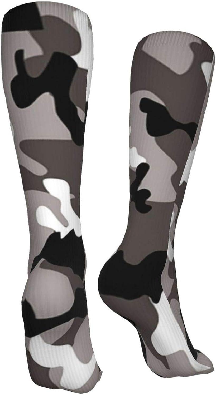 Gray Camouflage Women Premium High Socks, Stocking High Leg Warmer Sockings Crew Sock For Daily And Work