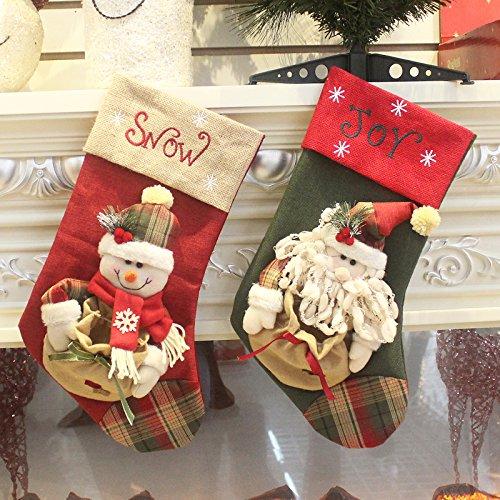 Set di 2calze da decorazione natalizie, motivo: Babbo Natale e pupazzo di neve, con personaggi in 3D, peluche in lino, da appendere, 44cm