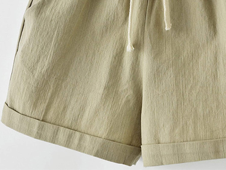 Fuwenni Women's Casual Elastic Waist Comfy Cotton Beach Shorts with Drawstring
