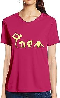 Pooplu Womens Vector Yoga Cotton Printed V Neck Half Sleeves Pink t.Shirt. Exercise & Gym t Shirt