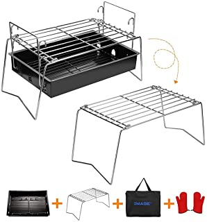 IMAGE Charcoal Grill Camp Grill Mini Grill Folding Campfire Grill Portable Grill Lightweight Steel Mesh Barbecue Grill Cam...