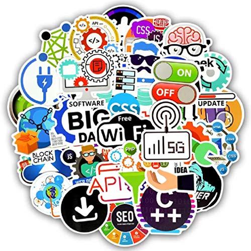 Top Aufkleber! Set von 50 Informatik Geek Aufkleber Premium Qualität - Vinyls Stickers Nicht Vulgär – Fashion, Stil, Bombe, Graffiti - Anpassung Laptop, Gepäck, Motorrad, Fahrrad, Skateboard
