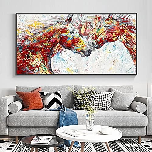 Arte abstracto moderno pintura al óleo de caballo de colores sobre lienzo impresión cartel nórdico cuadro de arte de pared para la decoración del hogar de la sala de estar 40x80 CM (sin marco)