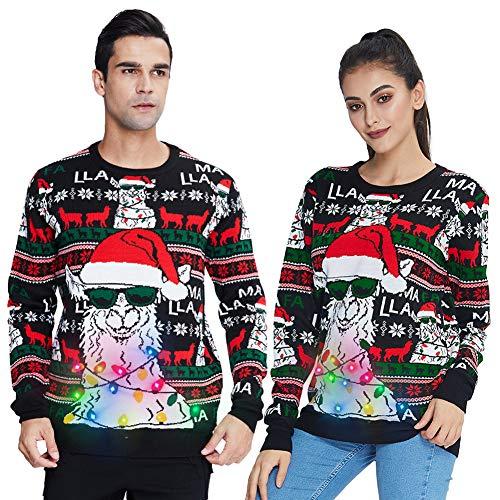 UNIFACO Weihnachtspullover Led Herren Hässlich Weihnachtspulli Lustig Damen Pullover Familie Strickpullover Winterpulli für Christmas mit Rundhals