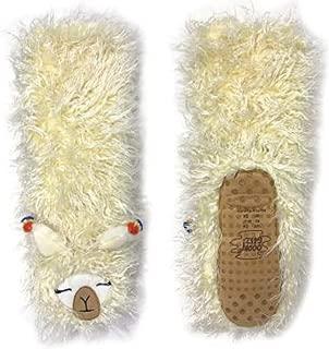 Slipper Socks Llama One Size All Amazingly Soft Sherpa White Cream