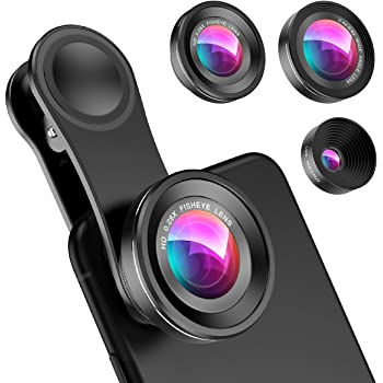 Criacr (Upgraded Version) Phone Camera Lens, 0.4X Wide Angle Lens, 180°Fisheye Lens and 10X Macro Lens (Screwed Together), Clip on Cell Phone Lens Compatible with iPhone Camera Lens, Smartphones