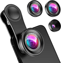 Criacr (Upgraded Version) Phone Camera Lens, 0.4X Wide Angle Lens, 180°Fisheye Lens and 10X Macro Lens (Screwed Together),...