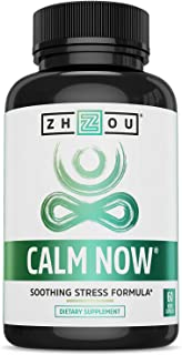 Zhou CALM NOW Soothing Stress Support | Keep Busy Minds Relaxed, Focused & Positive | Supports Serotonin Increase | 60 Veg...