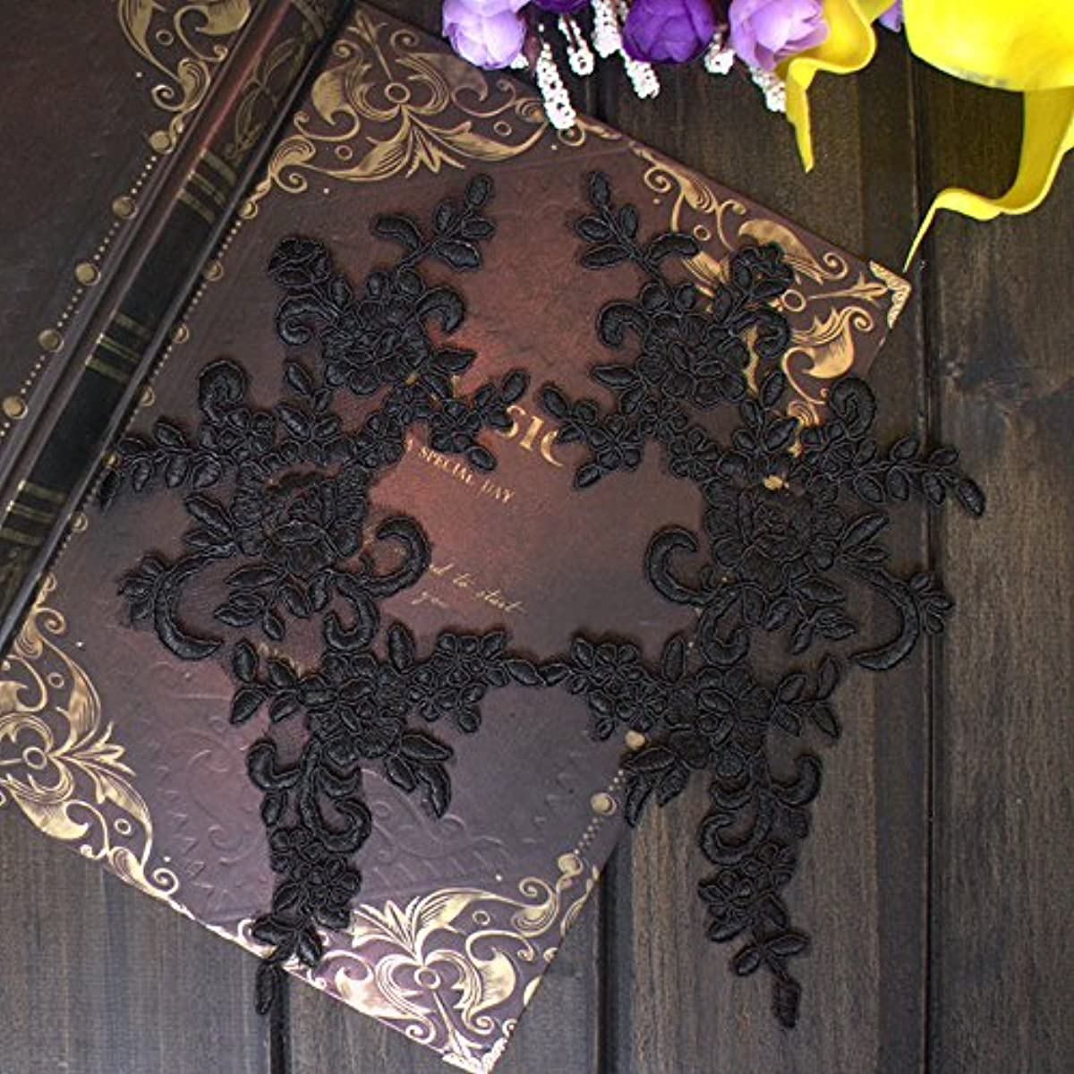 2 Pcs Flower Lace Patches for Wedding Dress DIY Clothing Flower Applique Collar Material (Black)