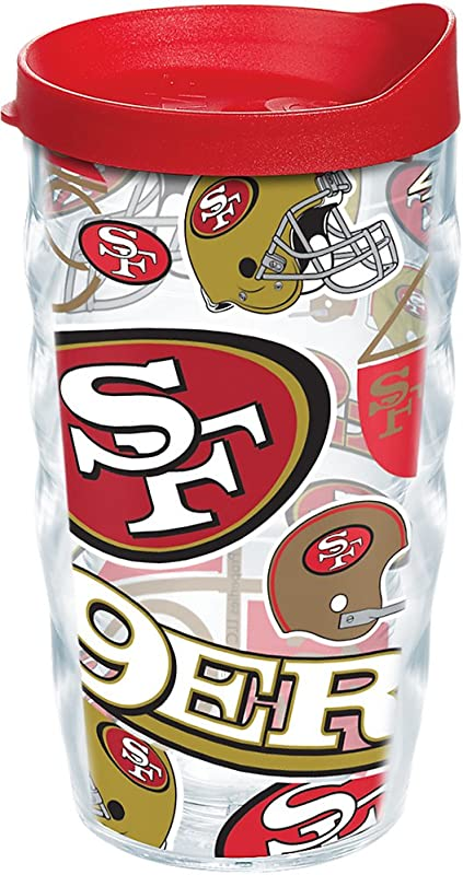 Tervis 1248317 NFL San Francisco 49ers All Over Tumbler With Wrap And Red Lid 10oz Wavy Clear
