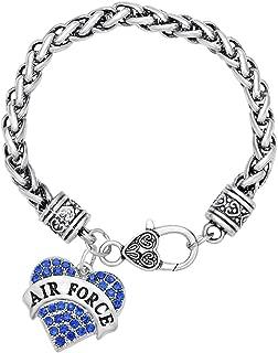SENFAI Air Force Crystal Adorned Heart Shaped Pendant Lobster Claw Bracelet
