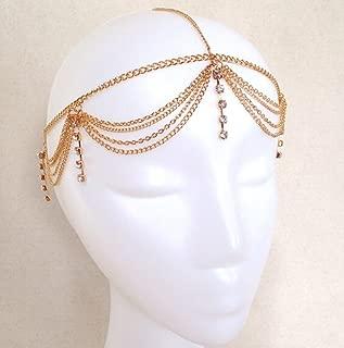 Deniferymakeup Gold Rhinestone Wedding Bridal Prom Bohemian Boho Grecian Head Chain Hair Jewelry Head Piece Bollywood Bride Glamorous