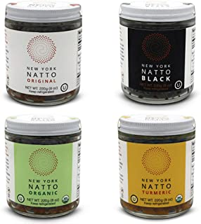 New York Natto variety pack - Japanese Probiotic Superfood made fresh in NYC - Organic and Non-GMO varieties - 4 jars, 8 ounces (220 grams) per jar