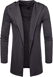TOPUNDER Autumn Winter Solid Long Sleeve Cardigan Men Turn-Down Collar Top Blouse