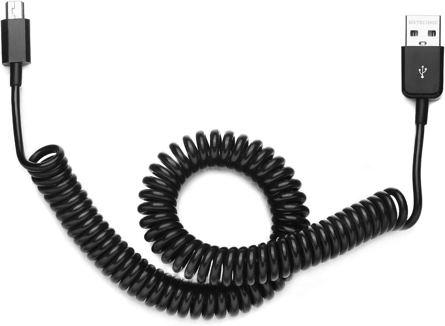 USB 2.0 Expansion Spring Coiled Cable 10 inch to 105 inch Standard Spiral Flexible Active Extension USB 2.0 Type A Male to Mini B Male Processors for Printers, Cameras, Mouse and Other USB Computers