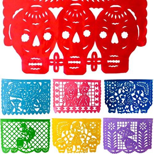 TexMex Fun Stuff Mexikanisches Fest Amor de Muertos - Tag der Toten, Horizontaler Papel Picado Banner (5 m), Grosse Kunststoff Girlande, Alle Flaggen Wie Abgebildet