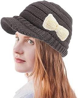 Women Winter Warm Knit Hat Crochet Visor Brim Cap with Pearl Bowknot