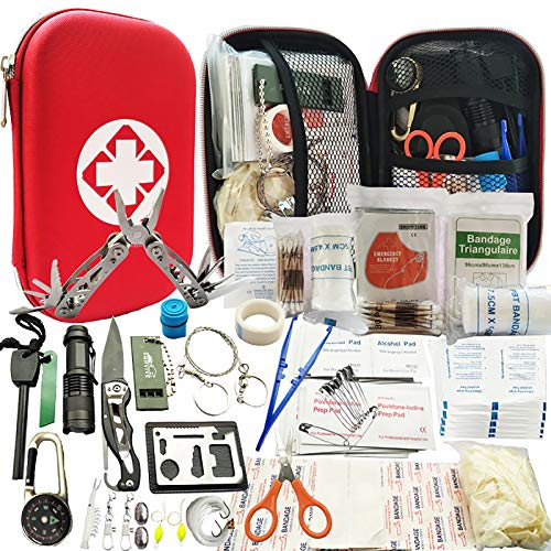 SCYDAO Kit de Survie d'urgence 241en 1 Multi-Outils De Survie Vitesse Kit, 241Pcs Tactique IFAK Pouch Outdoor Gear Sac Trauma d'urgence pour La Randonnée Camping Hunting Adventures,Rouge
