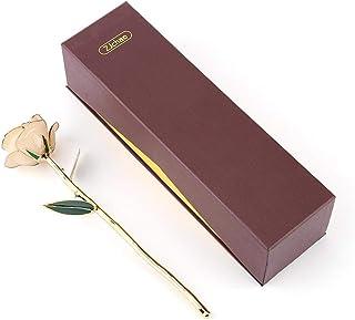 Okuyonic Véritable Rose dorée éternelle 24k plaqué Or Rose Rouge, véritable Rose 24K plaqué Or Rose Rouge Saint-Valentin F...