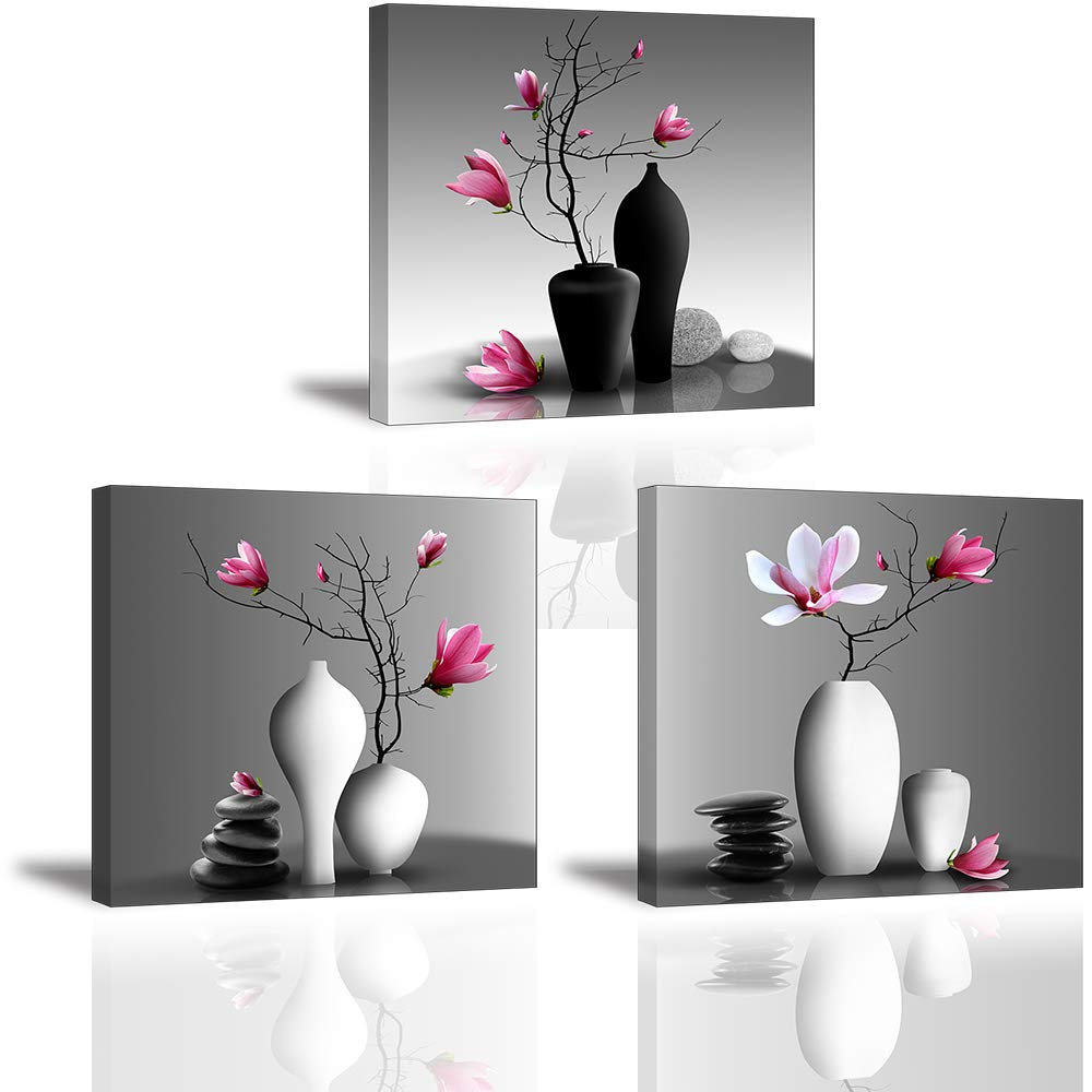 pink and white bathroom decor pictures amazon comflower wall art for bathroom hallway, sz elegant orchid still life canvas painting prints,