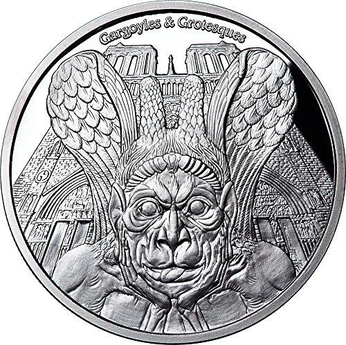 Power Coin Spitter Gargoyles and Grotesques Notre Dame de Paris Proof 1 Oz Moneda Plata 1000 Francos Chad 2017