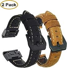 Olytop Leather Band Compatible Fenix 5X/Fenix 5X Plus Bands, 26mm Easy Fit Premium Durable Leather Watch Strap Wrist Band for Garmin Fenix 5X/5X Plus/Fenix 3/Quatix 3 Smartwatch - Black + Brown