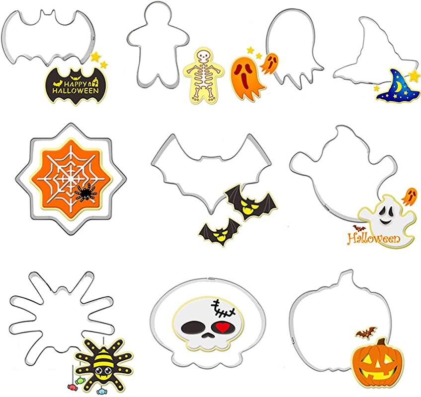 Halloween Cookie Cutters Set 10pcs Metal Stainless Steel Cutters Halloween Series Pumpkin Witch Hat Skull Ghost Biscuit Cutters Kitchen Tools Party Decorations