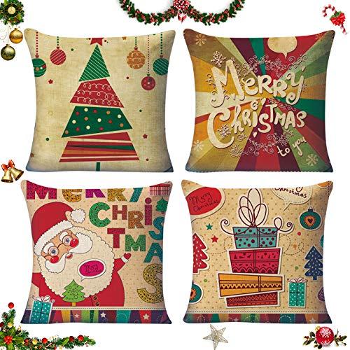 Natale federe Cuscini,Fodere per Cuscini Decorate,Fodere per Cuscini Natale,4 federe natalizie,copricuscini Divano Natale,Fodere per Cuscini Divano,Christmas Fodere per Cuscini,Natale Bellissimo