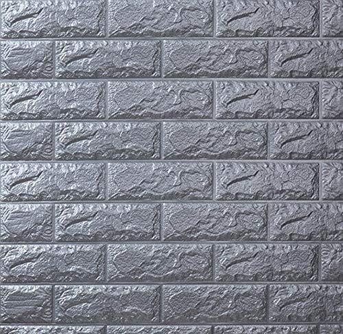 CZYSKY Ladrillo 3D Adhesivo Pared, Papel Pintado con Efecto de ladrillo de Pared Etiqueta de Pared de ladrillo 3D Panel de Pared de Espuma Impermeable DIY, 77x70cm, Gris, 10 PCS