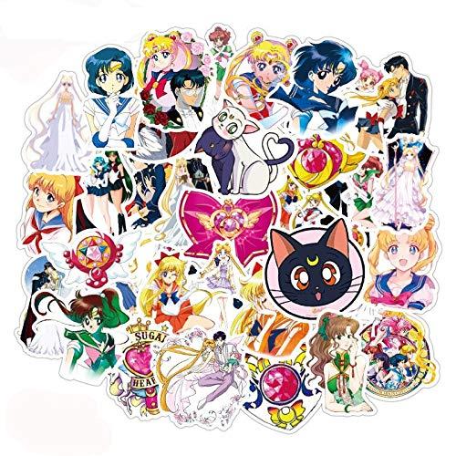 DUOYOU Etiqueta engomada japonesa del anime marinero de la luna para el casco del monopatín, caja de regalo de la bicicleta del ordenador del coche del cuaderno de los niños juguetes /5
