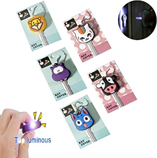 Comidox 5 Pcs LED Creative Keychain Shell PVC Silicone Soft Key Ring Cap Cover Case Cartoon Animal Styling White Cat &Blue Cat&Black Cow&Hippo&Lion 1 Each