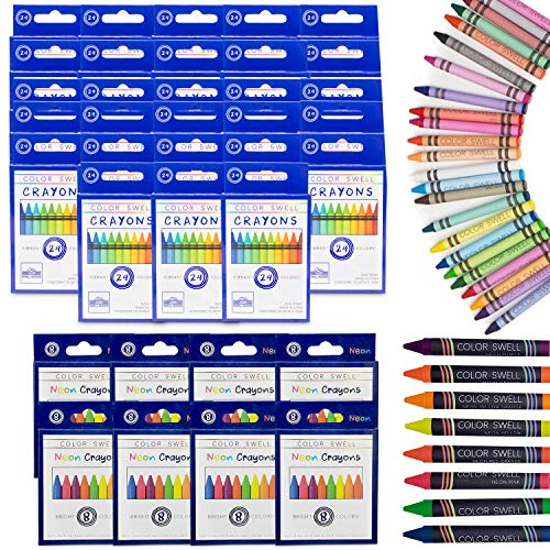 Color Swell Regular and Neon Crayon Bulk Packs - 8 Boxes of Fun Neon Crayons and 28 Boxes of Colorful Regular Crayons of Teacher Quality Durable Classroom Packs for Kids Students Party Favors