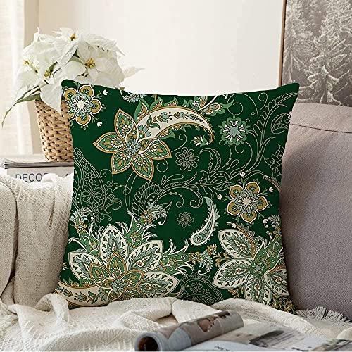 BONRI Almohada Patrón Decorativo Estilo de Flor Moda India Kalamkari Forma Adornado Paisley Gráfico Turco Vintage Retro Cuadrado Cojín Acogedor Funda de Almohada para sofá, 18'x18