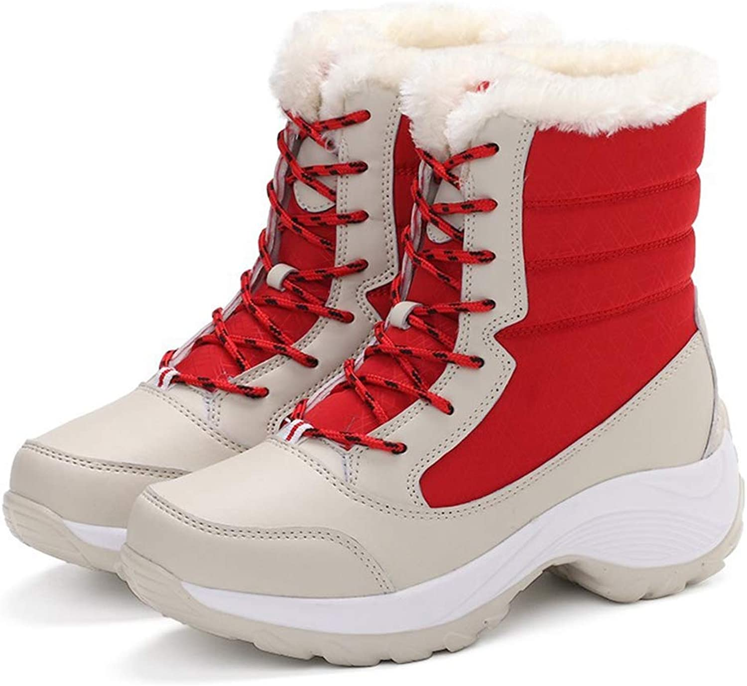 T-JULY New Women Boots Non-Slip Waterproof Winter Ankle Snow Boots Mother Winter Warm Snow Boots with Thick Fur