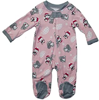Baby Pink Infant One Piece Sleep or Play Winter Friends