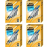 BIC Round Stic Grip Xtra Comfort Bolígrafo, negro/azul, 1,2 mm, mediano, 36 unidades – 4 cajas
